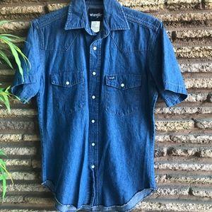 Wrangler Vintage Western Denim Pearl Snap Shirt